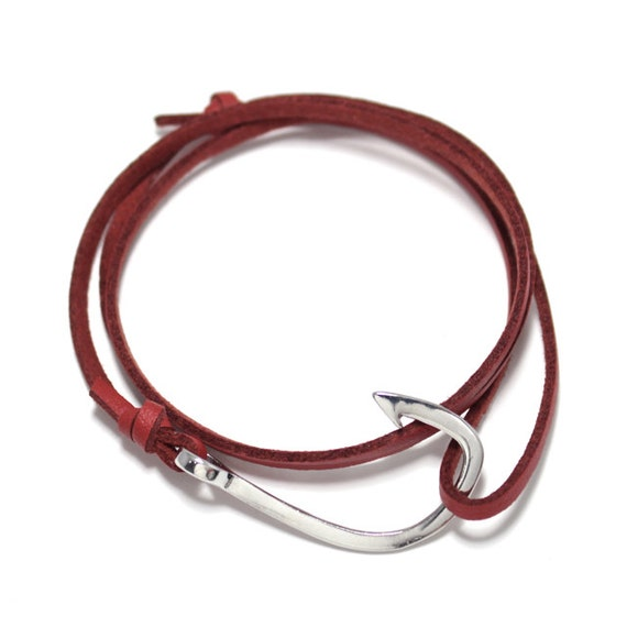 Fish hook bracelet in red leather hook by uniontradingcompany for Mens fishing bracelet