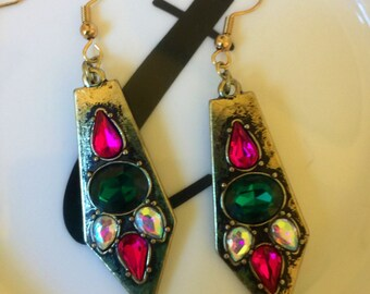Drop down gold wire earrings with purple and green gems!