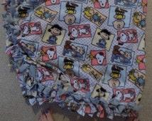 Charlie Brown and Friends tie fleece blanket