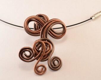 Brown aluminium wire necklace