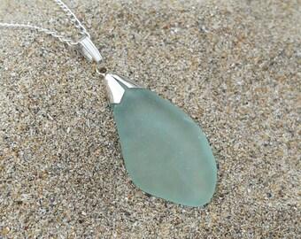 Cornish Sea Glass Sterling Silver Pendant