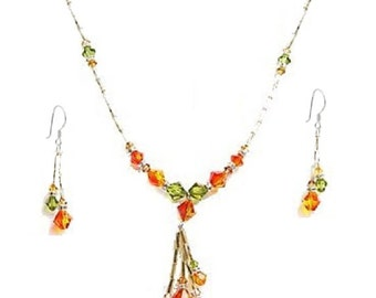 Handcrafted Swarovski Crystal Necklace and Earrings