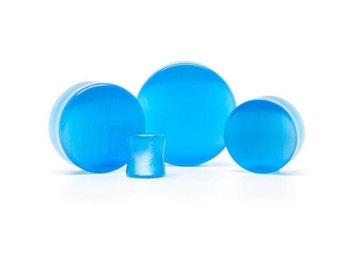 Pair of 30mm Blue Catz Eyes Plugs