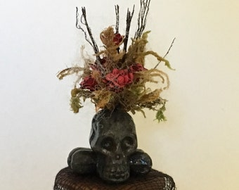 Dollhouse Miniature Haunted Skull Floral Arrangement Artist Made
