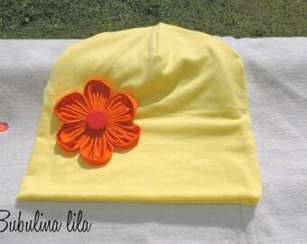 Hat Beanie yellow flower girl baby