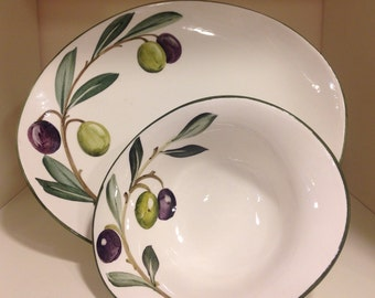 Ceramic plate and Bowl, hand-painted-made in Italy