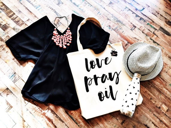 Oversized Custom Tote Bag, Love Pray Oil, Essential Oils Bag, Personalized bag, Christian tote bag, Essential Oils gift