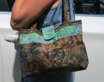 Blue and Green Batik Bag