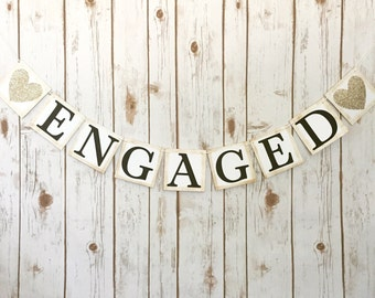 ENGAGED BANNER, engaged sign, engaged photo prop, engagement sign, engagement banner, engagement photo prop