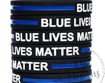 SALE! Blue Lives Matter Police and Law Enforcement Support Silicone Bracelet