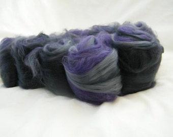 Greys and Purple Art Batt - Superwash Merino
