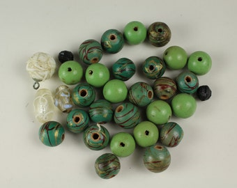 Larger Wood Green Beads - # 185