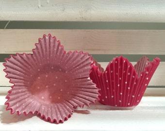 25 Pink flower polka dots cupcake liners