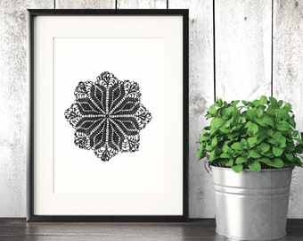 Doily Art Print 8x10 Inch - Instant Download Printable - Digital File Home Wall Art Mandala Lace Elegant Antique
