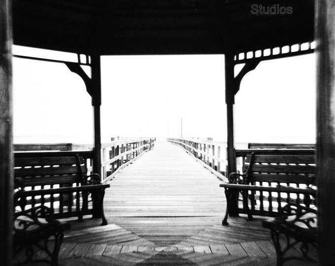 Featured listing image: Beach Gazebo - Giclee Print - Black and White Photography - Square Photo