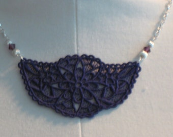 Embroidered Deep Purple Lace Pendant Necklace with 2 Fluted Beads and 2 Swarovski Amethyst 6mm Beads