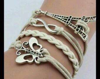 CUTE White BUTTERFLY Infinity Bracelet