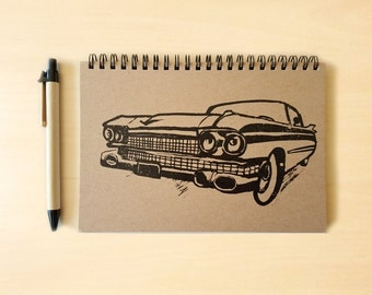 Cadillac Car Kraft Notebook/Sketchbook Spiral Bound - Blank pages