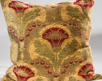 Designer throw pillow, decorative pillow in gold and green, red and gold pillow, toss pillow, both sides in red, green and gold, Chenille