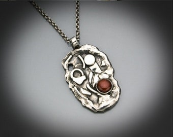 Chaos - Sterling Silver with Carnelian necklace