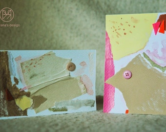 Beige memories - set of 2 handmade paper postcards, painted cardboard, beige and pink, collage, abstract forms