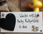 Personalized Baby Countdown Plaque Baby Countdown baby countdown blocks Pregnancy Gift Baby Shower Gift Baby Countdown Sign