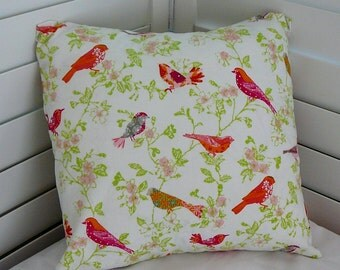 Pillow Cover, Throw Pillow Cover, Decorative Pillow Cover, Cotton Print Fabric, Hot Pink Orange Birds