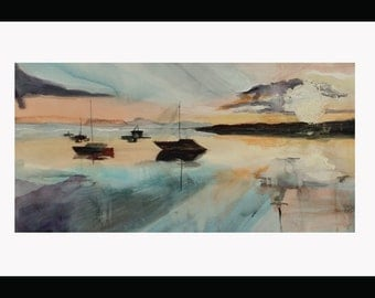 Original Large Watercolor Painting Seascape with Sailboats