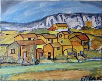 landscape, acrylic on canvas, emcbride original,