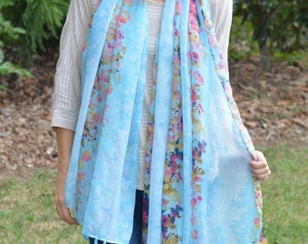 Blue Flower Fringe Scarf