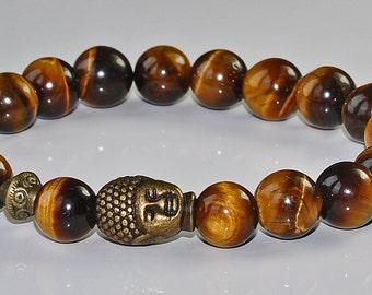 Lucky Bracelet,Tiger's Eye Buddha Mala Bracelet,Gemstone Healing Mantra Spiritual Bracelet,Energy Healing bracelet,japa mala,meditation