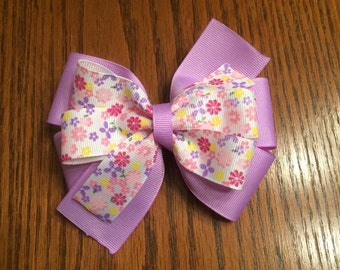 Purple Flower Hair Bow, Hair Bow, Girls Hair Bow