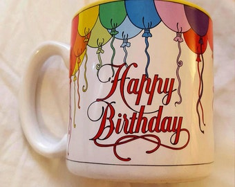 Vintage 1989 Happy Birthday Coffee Mug, 80's, Balloons