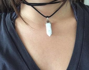 Long Choker Crystal Pendant (made to order)