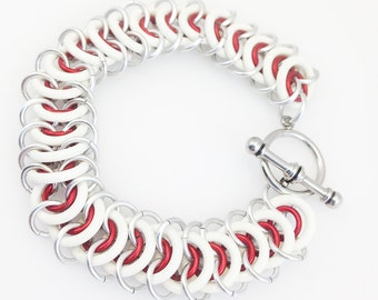 Aluminum & Rubber Vertebrae Weave Chainmaille Anklet - White and Red