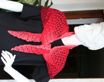 hand croched Scarf Shawl Stola Domina red to black