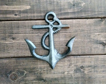 Silver Anchor Hook | Double Hook | Beach Hook Decor | Coastal Decor | Nautical Decor