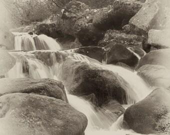 Vintage moorland waterfall gloss print