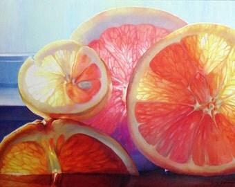 Still Life Oil Painting: Bright Citruses. Orange, grapefruit, lemon. Sunny picture. 70 x 100 cm. (27,5 x 39,3701 inches)