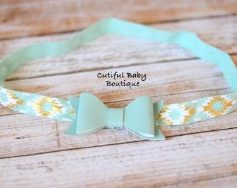 Aqua Fax Leather Headband, Children Headband, Baby Headband