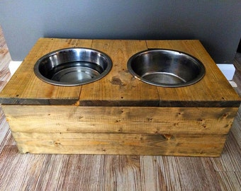 Rustic Wooden Dog Bowl Stand