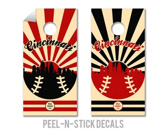 Cincinnati Reds Cornhole Board Decals