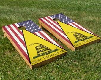 Don't Tread On Me / Classic American Flag Cornhole Board Set