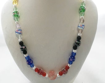 multi color glass necklace and earrings