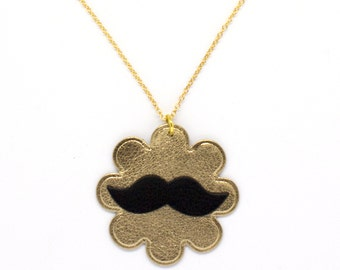 """Necklace leather mustache """"hipster"""" Golden and done black hand"""