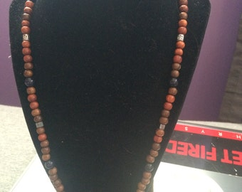 Blue Goldstone and Hematite beaded necklace