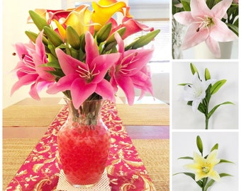 10 Heads Real Touch Artificial Flower Lily for Wedding, Party/Home Decoration - DIY Bouquet Table Centerpiece (Light/Pink, Yellow, White)