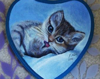 Kitten Wood Painting