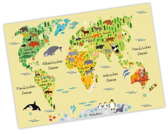 charming children world map yellow A3 / A2 / A1 * nikima * in 3 different sizes continents America, Europe, Africa, animals, Orca