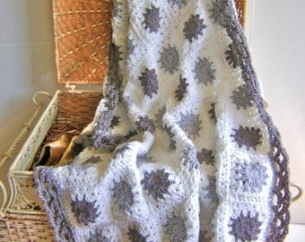 Hand Crocheted Gray Granny Throw On Sale